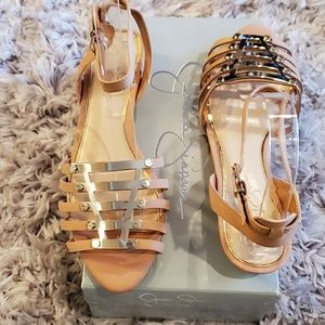 Jessica Simpson Natural Pink & Gold Sandal
